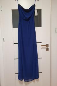 ZARA TRF S M długa maxi chabrowa kobaltowa sukienka long royal ...