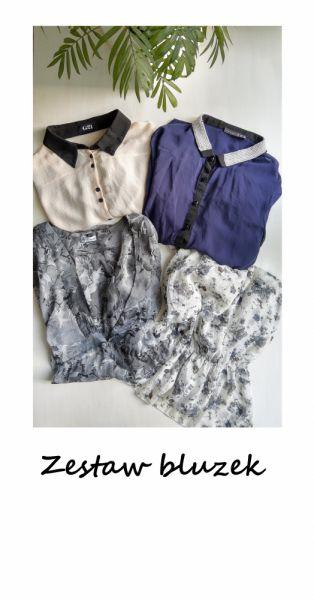 Bluzki Zestaw 4 bluzek mgiełek L XL koszulowa elegancka w kwiaty