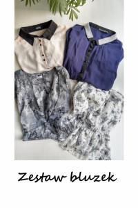 Zestaw 4 bluzek mgiełek L XL koszulowa elegancka w kwiaty...