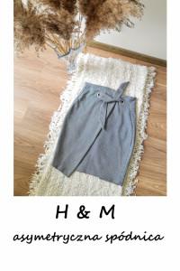 Elegancka asymetryczna spódnica z wysokim stanem M L z wiązanie...