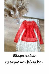 Elegancka czerwona bluzka M L transparentna siateczka...