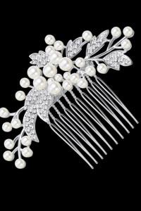 Nowa ozdoba do włosów wsuwka wianek ślub wesele panna młoda perły cyrkonie srebrny kolor