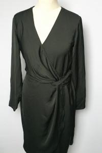 Sukienka Czarna Wizytowa Kopertowa Lindex S 36...