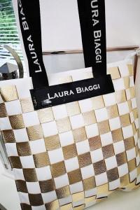Laura Biaggi skórzana torba shopper złota przeplatanka...