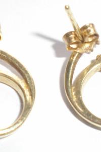 Wyjątkowe kolczyki złoto 585 z cyrkoniami...