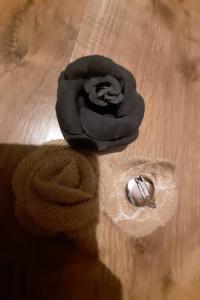 Nowe broszki materiałowe kwiaty róże...