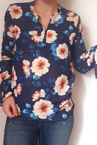 Bluzka z falbankami w kwiaty kwiatki wiosenna...