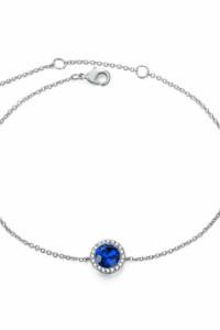 Nowa bransoletka delikatna srebrny łańcuszek niebieska cyrkonia...