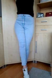 Spodnie rurki jeansy wysoki stan kieszenie skinny fit jasne nie...