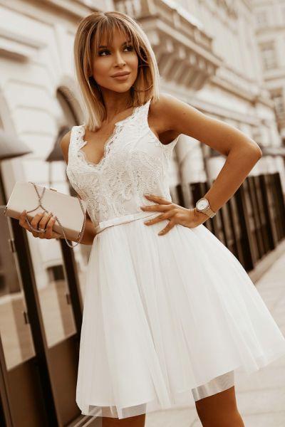 Suknie i sukienki Sukienka ecru 34 36 38 40 kolory tiul koronka