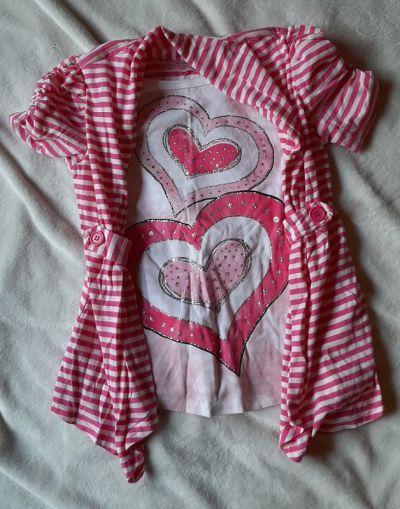 Bluzki Bluzka tunika różowa serca paski 6 lat