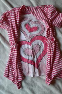 Bluzka tunika różowa serca paski 6 lat...