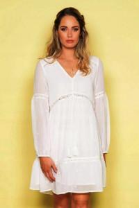 Biała sukienka z haftem i koronką Deluxe Women XL...