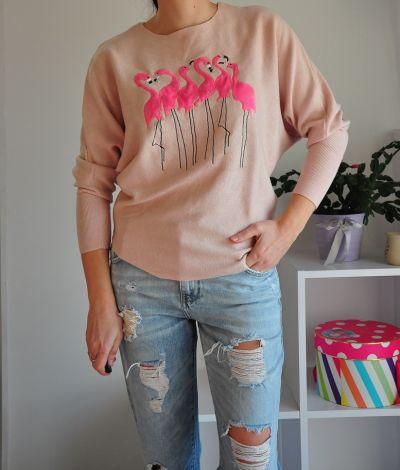 Swetry Różowy sweter z flamingami