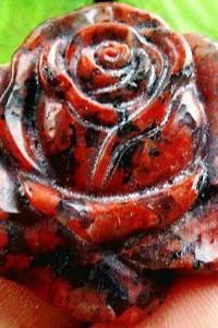 Brązowy jaspis brekcja subtelna róża wisiorek...