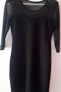 Elegancka mini sukienka wstawki z siatki ML...