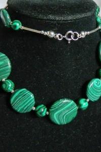 Malachit zielony i srebro elegancki naszyjnik...