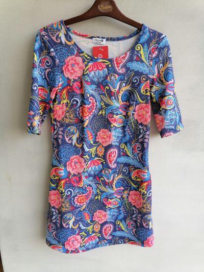 Suknie i sukienki Sukienka dres granatowa w kolorowe wzory 34