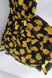 Sukienka hiszpanka czarna w żółte maki 3436
