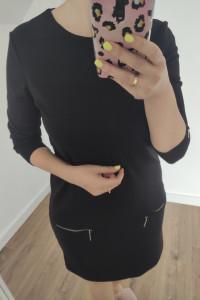 Sukienka krótka czarny zamki srebrne rozmiar S...