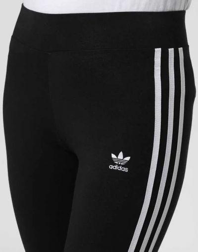 Legginsy Sportowe legginsy getry adidas czarne z białymi paskami S M