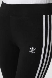 Sportowe legginsy getry adidas czarne z białymi paskami S M...