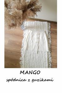 Śmietankowa spódnica z guzikami asymetryczna Mango...