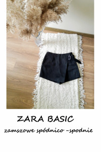 Zara BASIC czarne zamszowe spódnico spodnie eleganckie jak nowe...