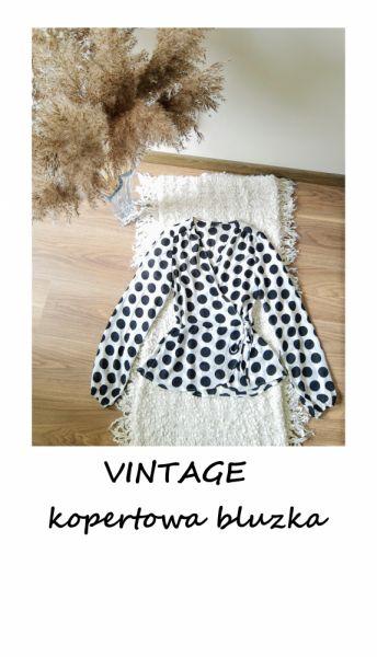 Bluzki Kopertowa bluzka w grochy vintage S M z wiązaniem szerokie rękawy