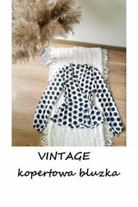 Kopertowa bluzka w grochy vintage S M z wiązaniem szerokie ręka...