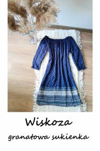 Granatowa wzorzysta sukienka M L wiskoza...