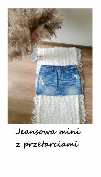 Spódnice Jeansowa mini spódniczka z przetarciami bawełna L XL