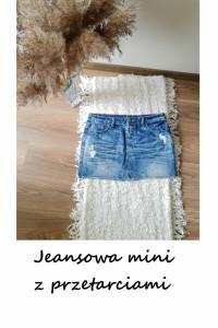 Jeansowa mini spódniczka z przetarciami bawełna L XL...
