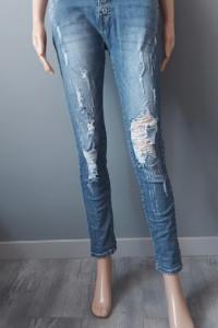 Spodnie Jeansowe Dziury Przetarcia Rurki 36 S...