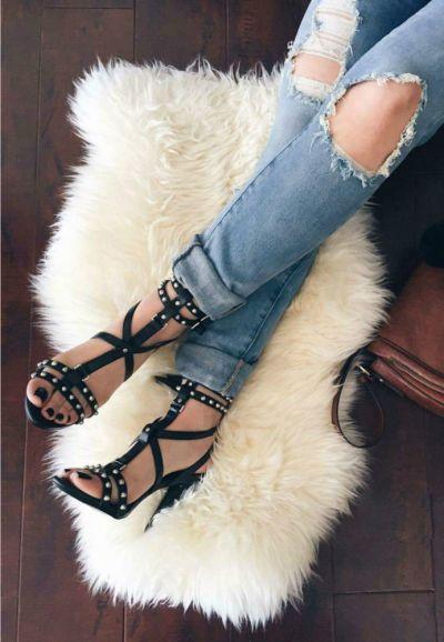 Sandały Zara czarne sandały ćwieki 39