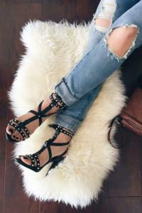 Zara czarne sandały ćwieki 39