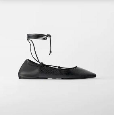 Balerinki Zara czarne sznurowane balerinki 38