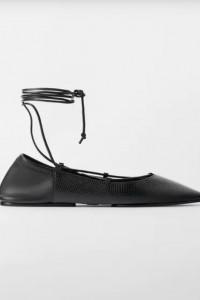 Zara czarne sznurowane balerinki 38