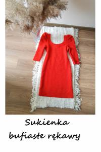 Piękna czerwona sukienka z bufkami na rękawach hit S M...