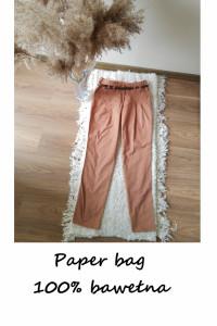 Bawełniane eleganckie spodnie paper bag chinosy bawełna