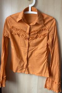 Fishbone pomarańczowa retro koszula falbanki hippie szerokie rę...