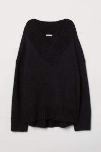 Wełniany sweter oversize piękny dekolt H&M