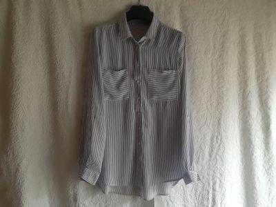 Koszule Elegancka biała bluzka koszulowa w granatowe paski z wiskozy Reserved rozmiar S
