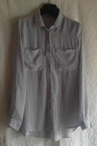Elegancka biała bluzka koszulowa w granatowe paski z wiskozy Re...