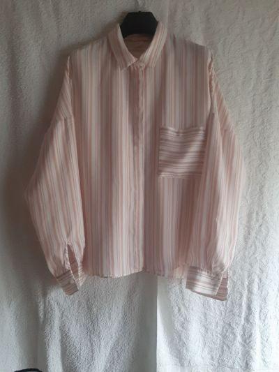 Koszule Biała bluzka koszulowa w paski pudrowy róż oversize