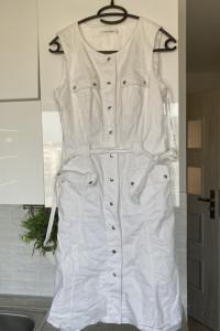 Calvin Klein biała jeansowa sukienka jeans vintage rozmiar S