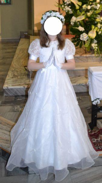 Pozostałe Elegancka sukienka komunijna buciki i wianek gratis