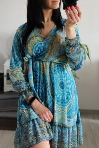 Sukienka szyfon turkusowa...