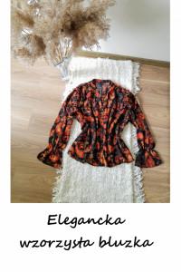 Wzorzysta elegancka bluzka L XL szerokie rękawy wzory...