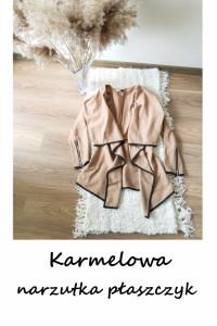 Elegancka karmelowa narzutka płaszczyk XS S